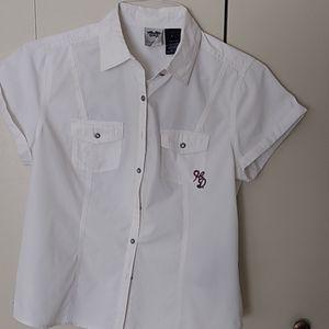 Women's HD cap sleeve embroidered shirt